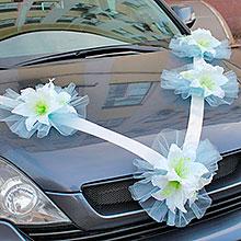 "Лента на свадебную машину ""Лили"" (голубой)"