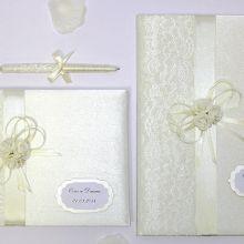 Свадебный набор:папка для свидетельства,книга пожеланий и ручка для свидетельства 18х25 см.