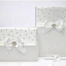 Свадебный набор: папка для свидетельства,книга пожеланий и ручка для свидетельства 18х25 см.