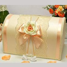 """Свадебный сундучок для денег и пожеланий """"Алиана"""" (персик)"""