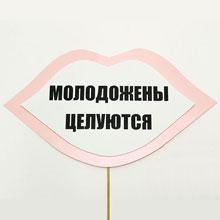 """Табличка для фотосессии """"Молодожены целуются"""" (розовый)"""