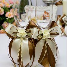 """Свадебные бокалы ручной работы """"Chocolate"""""""
