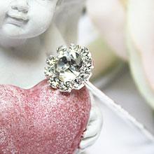 """Шпилька для свадебной прически """"Стразовый цветок"""" (1 см)"""