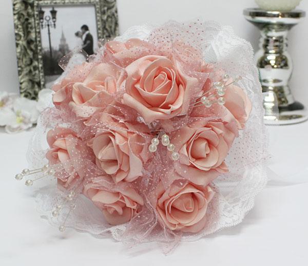 """Свадебный букет для невесты """"Каприз"""" (розовый)"""
