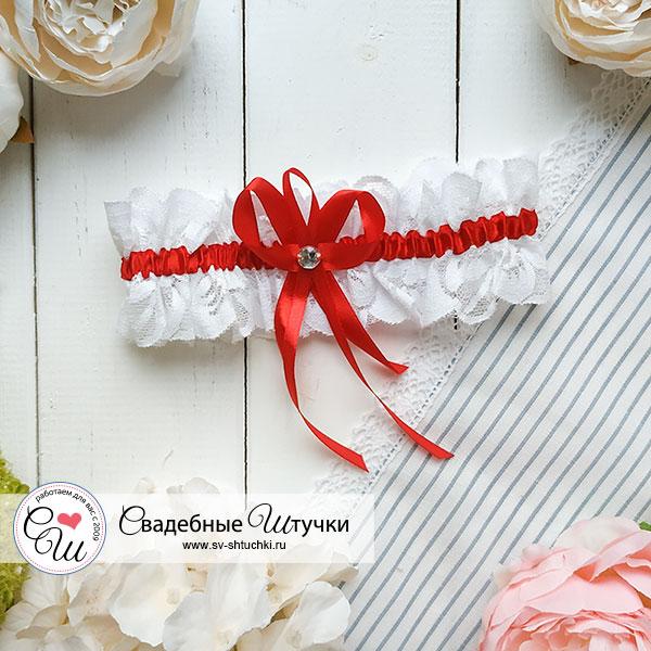 """Подвязка для невесты """"Медея"""" (красный)"""