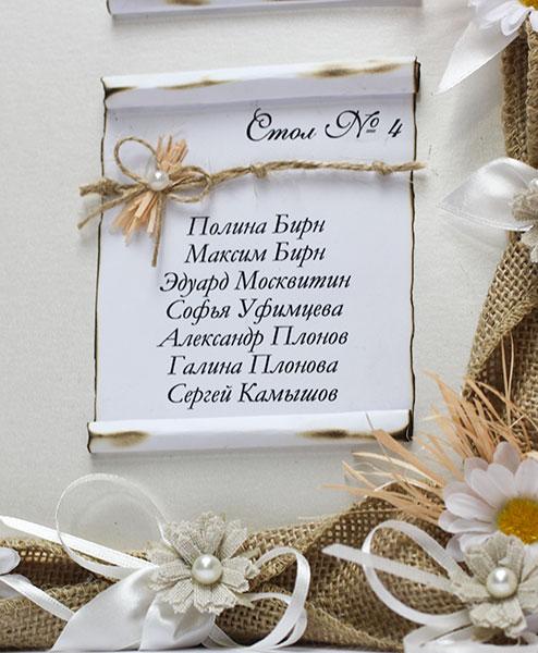 """План рассадки гостей в рамке """"Полевые цветы"""" (33х43 см)"""