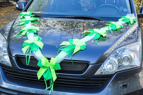 """Лента на машину """"Фатиновая фантазия"""" (2 луча) (салатовый/зеленый)"""