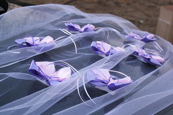 """Украшение на свадебную машину «Поцелуй бабочки"""" (сиреневый/розовый)"""
