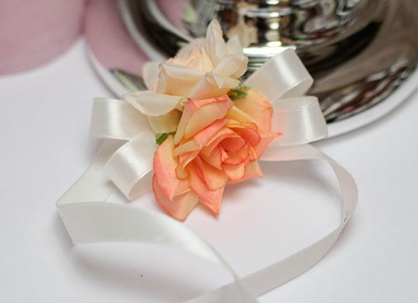 """Лента на голову или на запястье подружек невесты """"Маргарита"""" (айвори-персик)"""