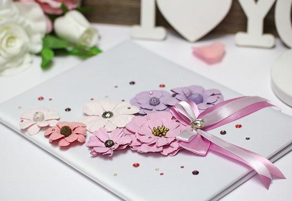 """Папка для свидетельства о браке """"Летние цветы"""" (розово-сиреневый)"""