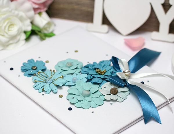 """Папка о браке """"Летние цветы"""" (сине-бирюзовый) для свидетельства 18х25 см."""
