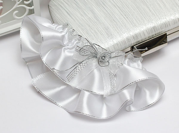 """Подвязка для невесты """"Сияние"""" (белая/серебро)"""