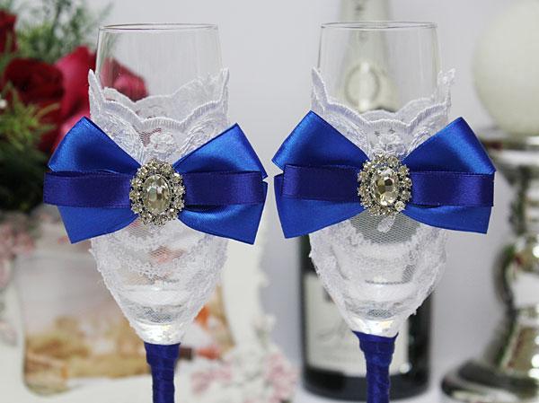 """Синие свадебные бокалы ручной работы """"Портофино"""""""