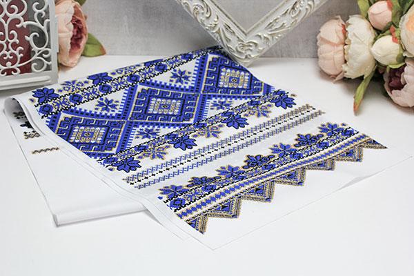 """Свадебный рушник """"Орнамент"""" (синий)"""