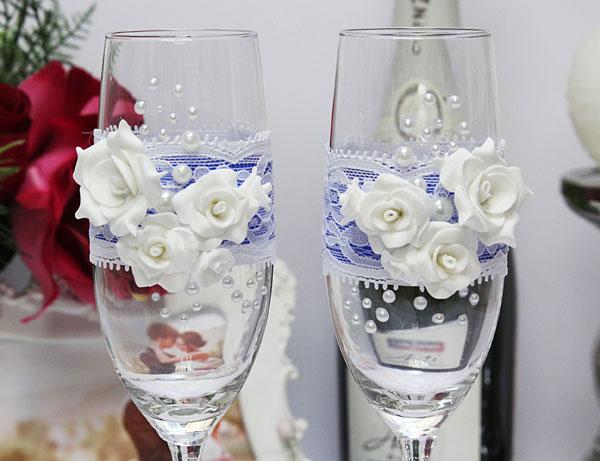 """Свадебные бокалы ручной работы """"Свадебный вальс"""""""