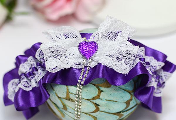 """Подвязка для невесты """"Мармелад"""" (фиолетовый)"""