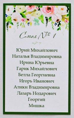 """План рассадки гостей в рамке """"Весенние цветы"""" (33х43 см)"""