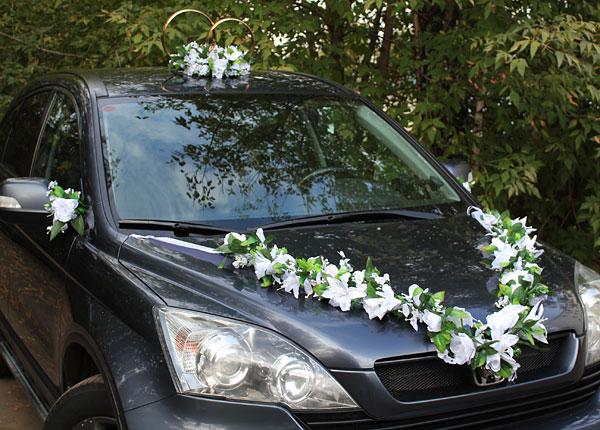 Набор свадебных украшений на машину Цветочная фантазия (белый)