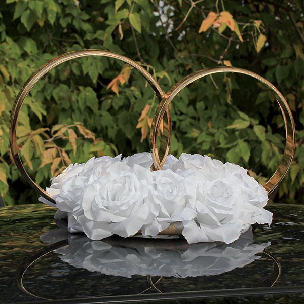 Кольца на свадебную машину Пышные розочки (белый)