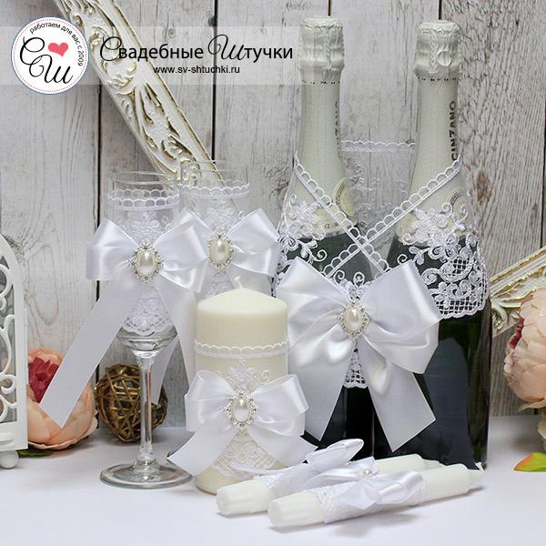 Комплект свадебных аксессуаров Винтажный шик (белый)