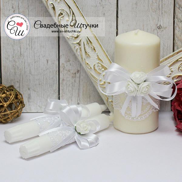 Семейный очаг + 2 свечи Розанна (без подсвечников) (белый)
