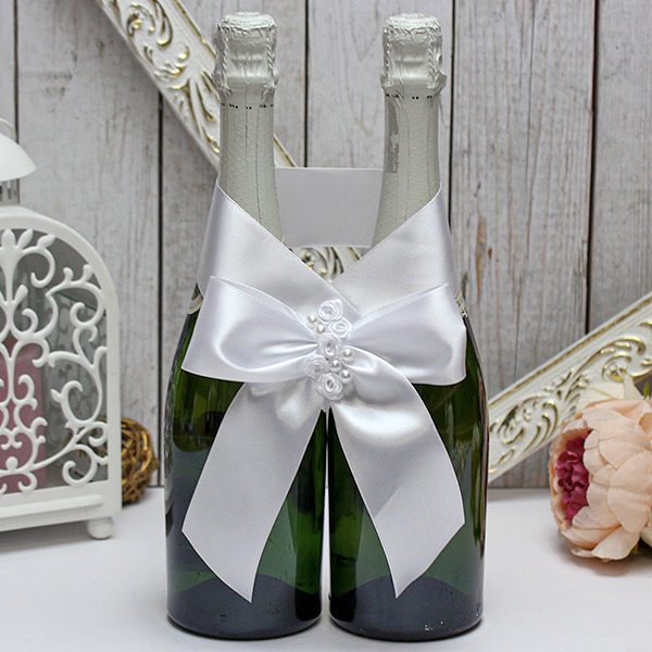 Декоративное украшение свадебных бутылок Маргарита (белый)
