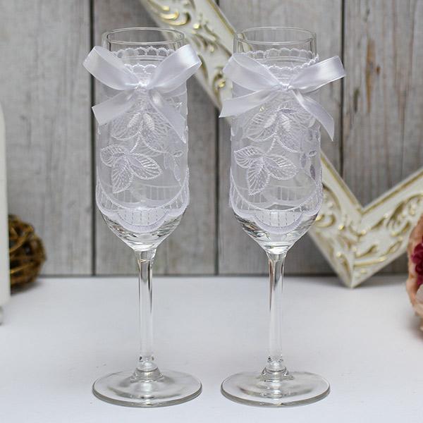 Свадебные бокалы ручной работы Бантик (белый)