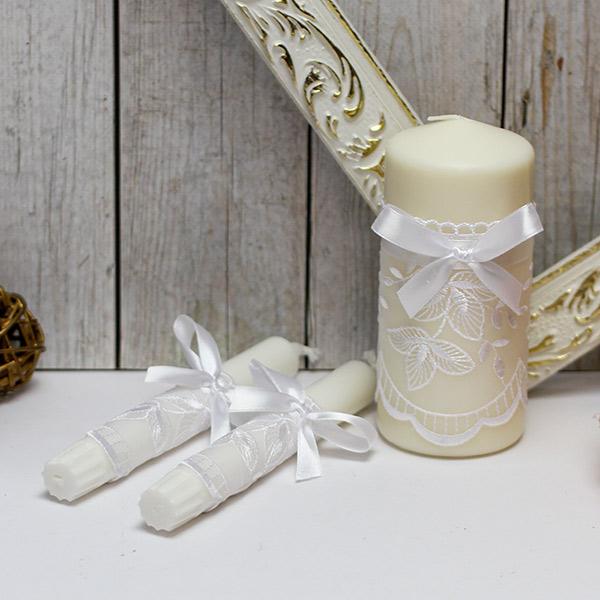 Домашний очаг + 2 свечи Бантик (без подсвечников) (белый)