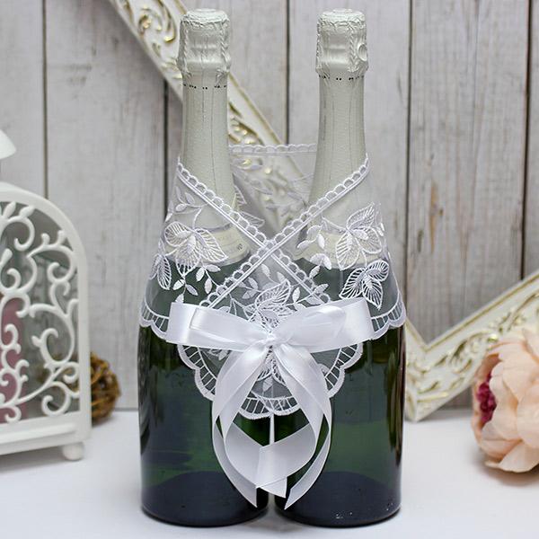 Декоративное украшение для шампанского Бантик (белый)