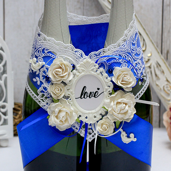 Украшение для свадебного шампанского Таинственный сад (синий)