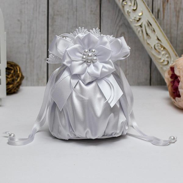 Сумочка-мешочек для невесты Нежные цветы (белый)