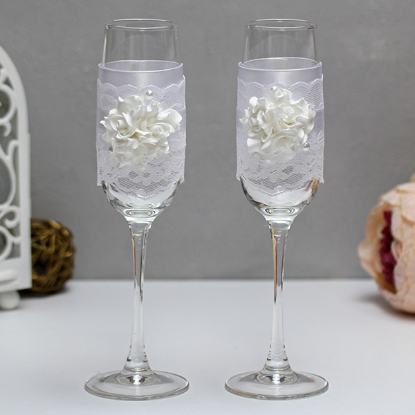 Свадебные бокалы Изысканные розы (белый)
