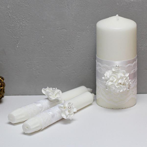 Свадебные свечи Изысканные розы (без подсвечников) (белый)
