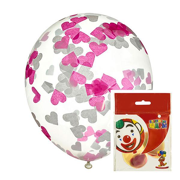 Набор: 2 воздушных шара с наполнением (30 см, конфетти-сердечки)