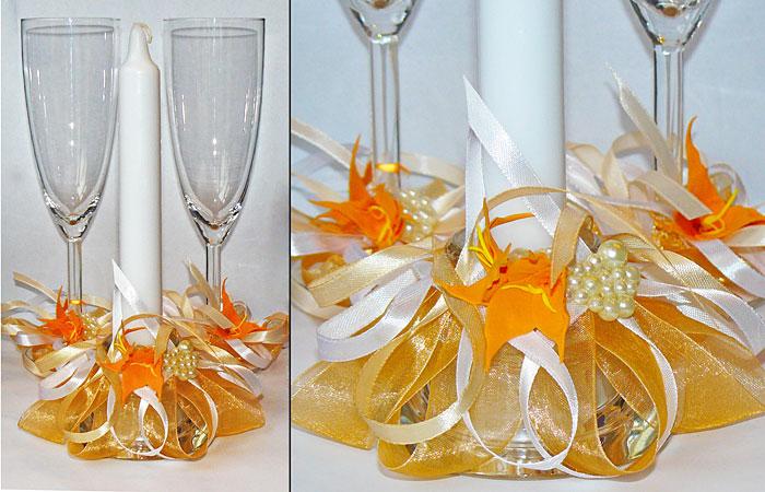 """Набор (3) """"Оранж"""" (бокалы + свеча)"""