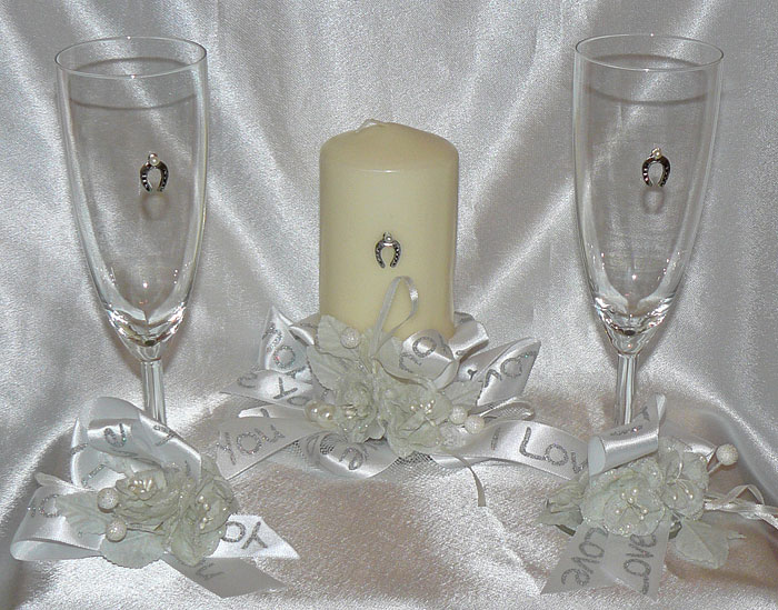 """Набор (3) """"Невеста"""" (бокалы + свеча)"""