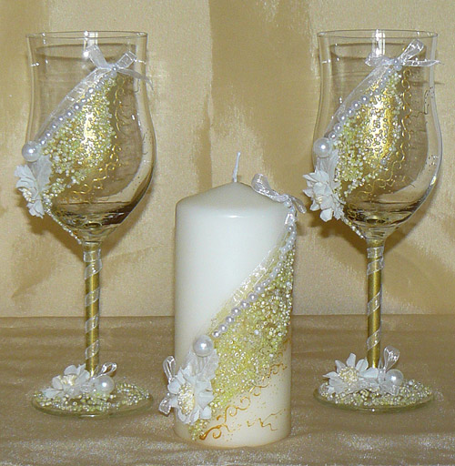 "Набор (3) ""Шик"" (бокалы + свеча)"