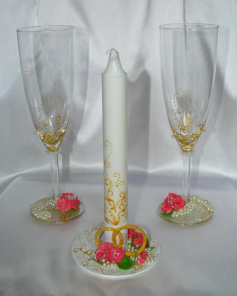 """Набор (3) """"Роза в жемчуге"""" (бокалы + свеча)"""