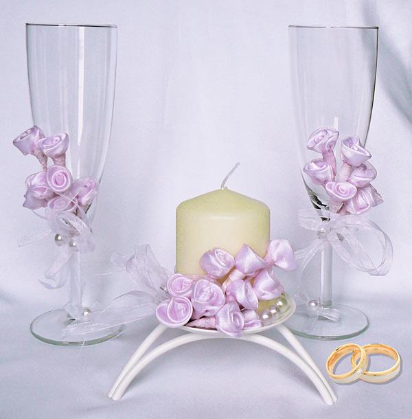 """Набор (3) """"Розовая мечта"""" (бокалы + свеча)"""
