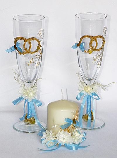 "Набор (3) ""Небесная сказка "" (бокалы + свеча)"