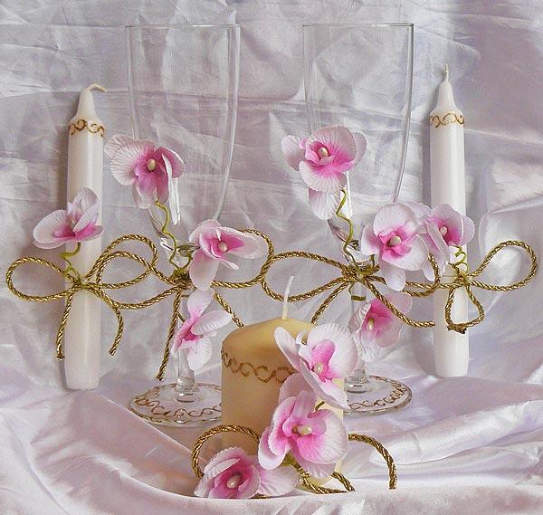"""Набор (5) """"Орхидея"""" (бокалы + 3 свечи)"""