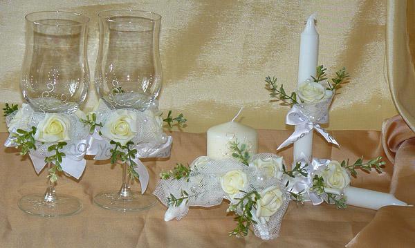 """Набор (5) """"Невеста"""" (бокалы + 3 свечи)"""