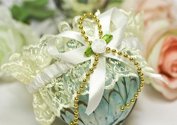 Подвязка для невесты на ногу Золото (айвори)