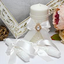 Домашний очаг + 2 свечи Винтажный шик (без подсвечников) (айвори)