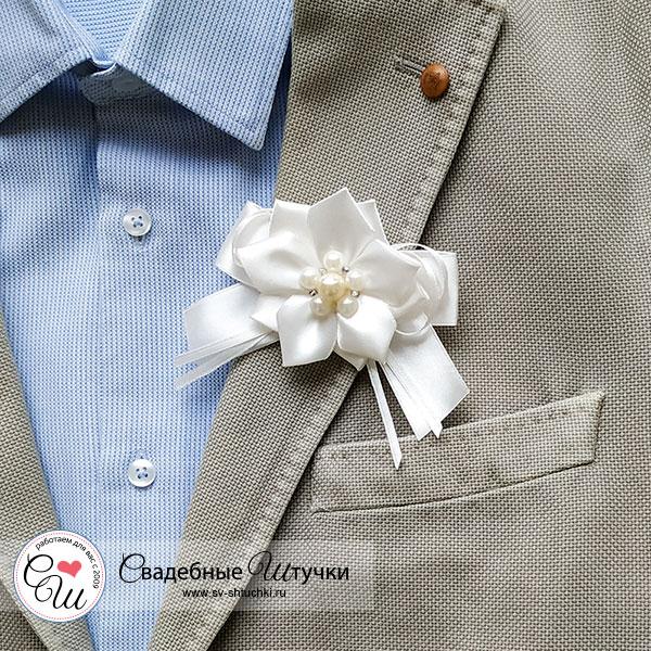 Бутоньерка для жениха Нежные цветы (айвори)