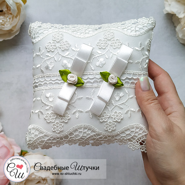 Подушечка для колец на свадьбу Королевские розы (айвори)