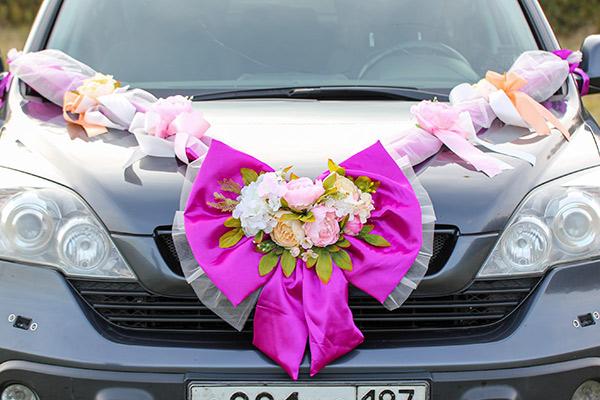 Свадебная лента на автомобиль Винтажная роскошь (фуксия)