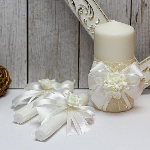 Домашний очаг + 2 свечи Romantic (айвори)