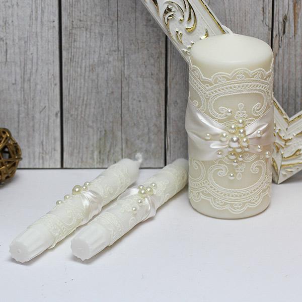 Свадебные свечи для молодоженов Жемчужина (без подсвечников) (айвори)
