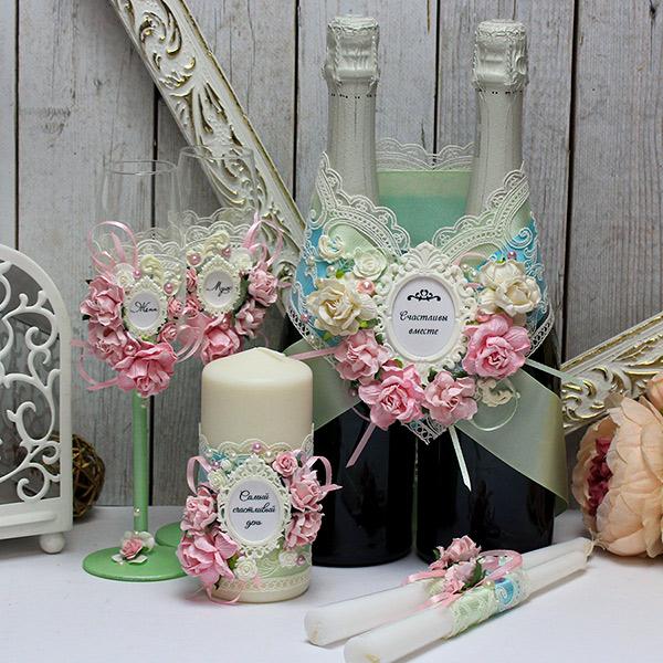 Комплект свадебных аксессуаров Таинственный сад (мятный)